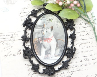 Small Victorian Framed  Kitten Lithograph, Antique Cat Print in Oval Floral Frame
