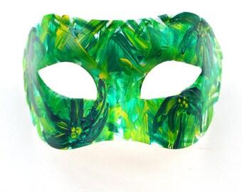 Men's Green Tropical Palm Mardi Gras Mask, Masquerade