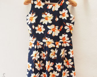 SALE Tropical Navy Floral Dress - Sleeveless Dress - Navy Short Dress -Kitsch Dress - Navy Summer Dress - Floral- Size M (US6-8)