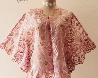 Autumn Poncho, Ponchos, Purple Lace Poncho, Tribal, Wrap, Aztec, Women Butterfly Blouse, Boho Poncho Bohemian Blouse