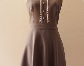 Gray Prom Bridesmaid Dress Fit and Flare Dress Charcoal Party Dress Vintage Inspired Gray Cocktail Swing Skirt Dress-XS-XL,Custom