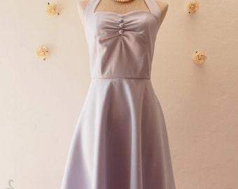 Gray Bridesmaid Dress Gray Party Dress Vintage Halter Dress Vintage Halter Dress Rockabilly Gray Summer Sundress Tea Dress-XS-XL, Custom