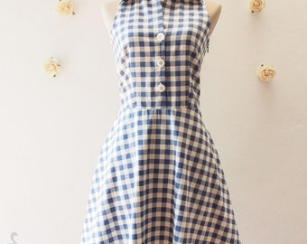 Shirt Dress, Blue Gingham Dress, Vintage Style Dress, Cute Summer Sundress, Blue Tea Dress, Party Dress, Working Dress Size S, M, L, XL