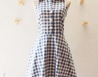 Shirt Dress, Blue Gingham Dress, Vintage Style Dress, Cute Summer Sundress, Blue Tea Dress, Party Dress, Working Dress Size S, M, L