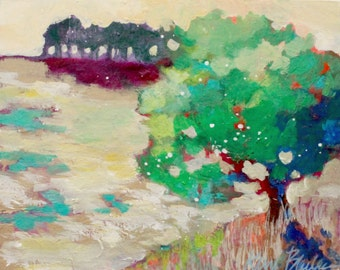 """Small Abstract Landscape Painting, Trees, Colorful Acrylic, Small, """"August Day"""" 8x10"""""""