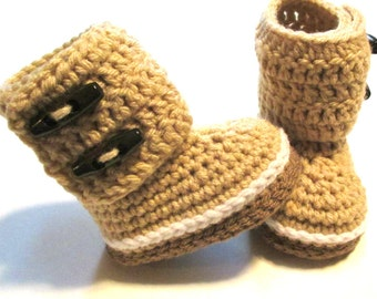 Trendy baby winter boot booties.  Crochet baby booties for winter.  Made to order tan unisex baby boot booties.