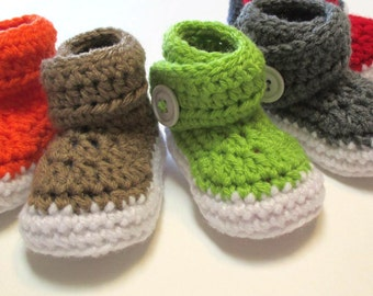 Crochet baby booties NEW for spring!  Lots of sizes and colors to choose.  Made to order springtime baby booties for baby boy or baby girl.