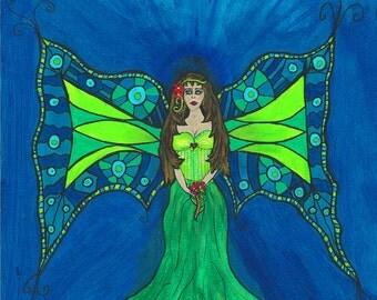 "Darksideart fine Art Print  ""Sirena Mermaid Princess of Aquatica"""