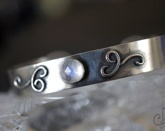 Luna ~ Blue Moonstone Sterling Silver Bracelet