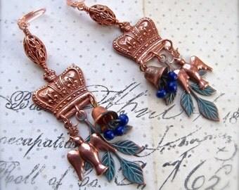 Rose Ox Copper, Crown Earring, Peace Dove, Vintage Bell, Blue Glass Beads, Copper Chandelier, Dangle Earrings