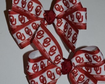 Set of Two Oklahoma Sooners Hair Bows