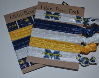 Choose One Set of Five Hair Ties University of Michigan Wolverines Elastic U of M