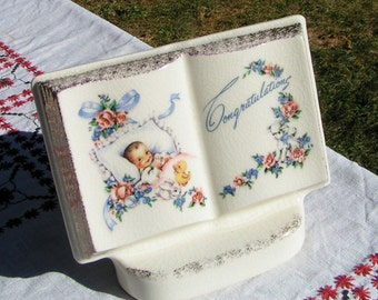 50s BABY PLANTER Congratulations Book of Rememberance by Royal Windsor REPURPOSE