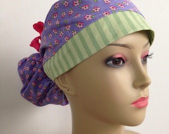 Women's Ponytail Surgical Scrub Hat - Flowers and Stripes