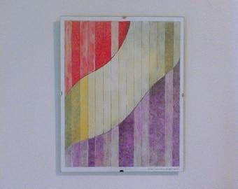 Original mixed-media drawing and painting. Abstract. Calla Lily. Framed.