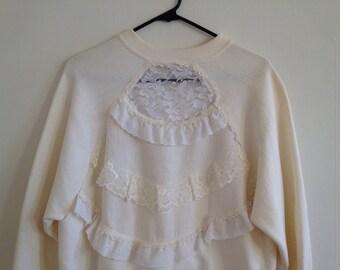 Lace White Vintage Sportswear Sweatshirt