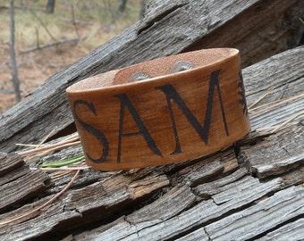 Supernatural Inspired Sam Winchester Leather Bracelet - Ghost Demon Evil Hunter TV Fan Laser Burned Adjustable Men Women Double Snap Closure