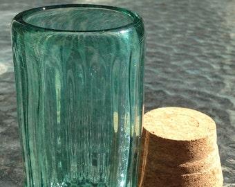 Hand Blown Glass Jar - Glass is Greener Optic with cork