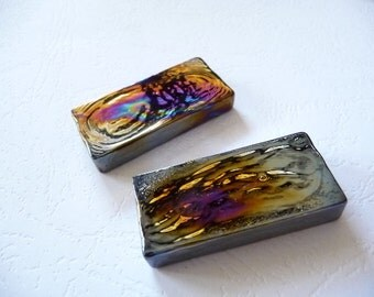 Glass Brick, dichroic, pendant, wire wrapping, findings, rectangle, thick, big, cabochon, glass, mosaic, tiles, decorative,