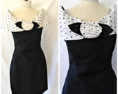 Vtg '80s LA Glo Formal Mini Prom Dress Acetate Off Shoulder Polka Dot Black Pin Up Wiggle Dress Sz 5 6 7 8 Deadstock W/ Tag