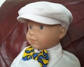 Newsboy Baby and Boys Flat Cap\White Linen\Baptism Hat\Easter\Ringbearer Cap\Christening\Childrens caps\Special Occasion-Newborn to 5 years