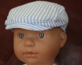 Baby Flat Cap\Newsboy Hat\Cotton Seersucker\Easter\Ringbearer Cap\Childrens caps\Special Occasion-Newborn to 5 years