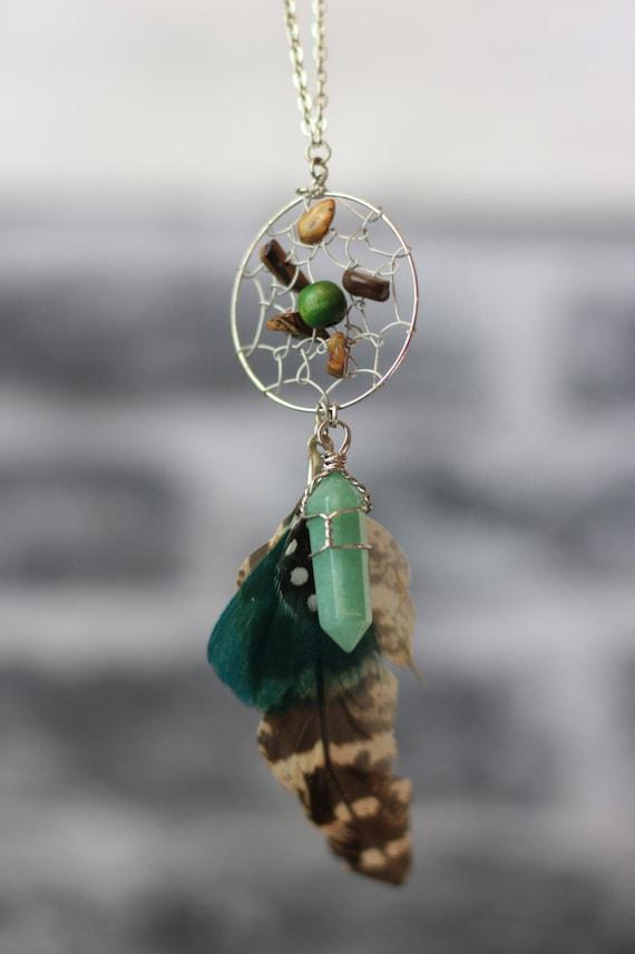 GREEN DREAMCATCHER NECKLACE-Statement Necklace-Dreamcatcher- Bohemian- Boho chic- Festival necklace- Bespoke Jewelry- Festival- Vintage
