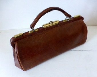 Antique French Leather Doctors, Nurses, Bag