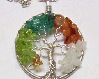 Four Seasons Wire Wrapped Gemstone Tree of Life, Peridot, Green Onxy, Carnelian and Rainbow Moonstone, Four Seasons Necklace, Multi-Gemstone