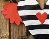 Valentines door Hanger, Black White Stripe Valentines Day Heart with Red Wings Screen Door Hanger