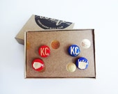 Red and Blue KC earrings (2 sets), Kansas City, Free Domestic Shipping!