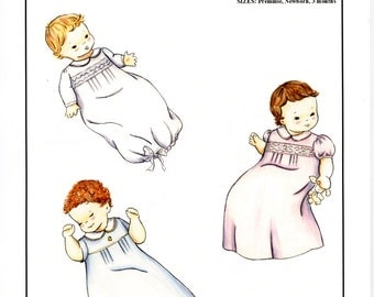 Preemie -Newborn Daygown smocked or embroidered by Creations by Michie #101