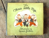 Antique Children's Book Three Little Pigs Book 1933 Baby Nursery Prop Collectible Book