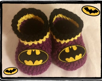 Batgirl Baby Booties Batgirl Baby Shower Gift Newborn or 3 to 6 months Handmade Crochet Made to Order