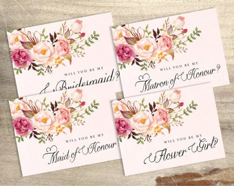 DIGITAL DOWNLOAD FULL Set - 5x7 Will You Be Maid of Honour Card. Will You Be My Bridesmaid, Maid of Honour, Maid of Honor, Flower Girl