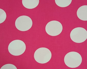 """60"""" Wide, Pink Fabric, Pink Polka Dot Fabric, White Polka Dots, Pink and White Fabric, 012019"""
