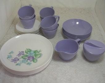 Vintage Royalon Lavender Purple Melmac Melamine Plates Cups Saucers Bowls Cream & Sugar 26 PCS