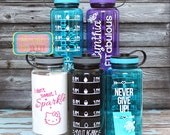 Inspirational Personalized 34oz Tritan Sports Water Bottle with Hourly Reminder Times