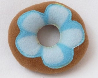 Dog Donut Toy - Tan with Blue Petals