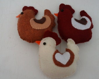 Felt Fat Chicken Ornament