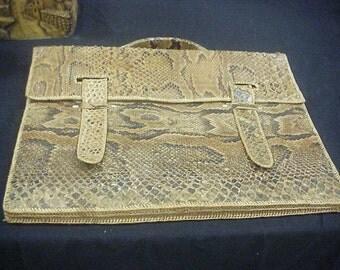 Vintage Snakeskin Portfolio Briefcase Messenger Bag