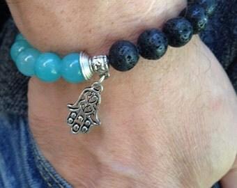 Throat Chakra Healing, Stretch Beaded Jade and Black Lava Yoga Bracelet Hamsa  Charm