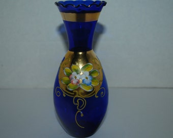 Bohemian Czech glass vase cobalt and gold vase hand painted 24K gold