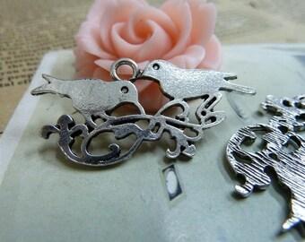 10pcs 17*38mm antique silver  bird charms pendant B324