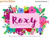 SALE 50% OFF Roxy Bright Flower Hand Painted Acrylic Clipart Clip Art - Personal and Commercial Use rose garden peony posie blossom statione