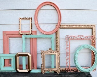 Set of 10 Upcycled Frames - Mint, Gold, and Coral - Wall Gallery - Nursery - Wedding - Vintage Frames - Frame Set - Scatter Frames