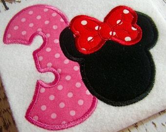 applique Minnie mouse embroidery design, Happy birthday embroidery, appliqué happy Birthday Mickey mouse appliqué design instant download