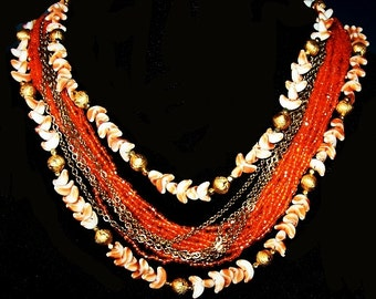 """Orange Bead Shell Necklace 16 Strands Fancy Button Clasp Gold Metal 18"""" Vintage"""