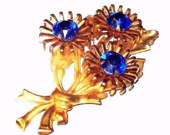 "Art Deco Flower Brooch Blue Rhinestones Gold Metal BIG Bouquet 3"" Vintage Spring Jewelry"