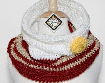 Egg 'n Bacon Crochet Cowl- Crochet Scarf- Food Scarf- Neck Warmer- Kawaii- Unique Scarf- Egg Scarf-Christmas Gifts-Geek-Winter